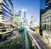 Modern megacity business district La Defense at night