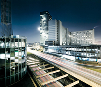 Modern megacity business district La Defense at night