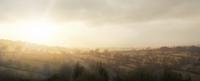 ENGLISH MISTY MORNING SUNRISE OVER PLAINS OF CHESHIRE COUNTRYSIDE
