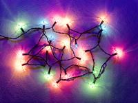 Christmas fairy lights top down.