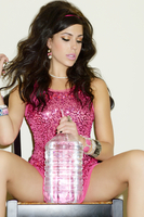 Fashion Brunette Pink Party Girl with water bottle