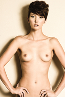 Striking Poster Like Portrait of Tall Nude Brunette Female Model