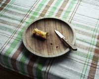 Apple core on plate