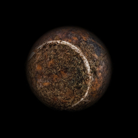 Old tennis ball with dark background as a planet