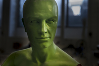 portrait of a mannequin in green