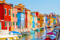 The streets of the colorful little town of Burano, Italy