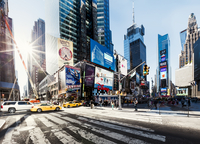 Sunup panorama view on Times Square