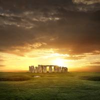 View of Stonehenge at sunset