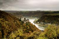 Katz Castle seen from Patersberg across St. Goarshausen, rear left is Loreley, River Rhine, UNESCO world cultural heritage