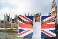 Olympic competitor with Union Jack London, England