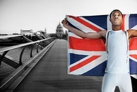 Olympic competitor on Millennium Bridge, London, England