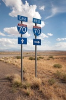 East and West Interstate 70 signs, Utah, USA