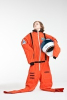 Boy dressed up as astronaut