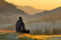 Man alone at sunrise, Krasnik village area, Carpathian Mount