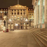 Bank of England lit up at night