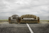 Abandoned couches on roadside