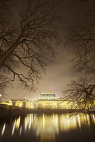 Prague National Theater lit up at night