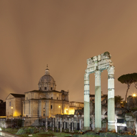 Roman Forum lit up at night