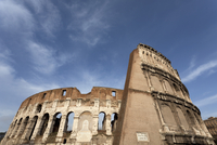 Low angle view of Roman Coliseum