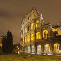 Roman Coliseum lit up at night