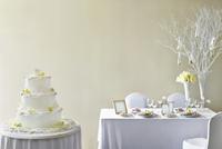 Elegant wedding cake on table