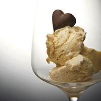 Ice cream in dish with chocolate heart