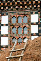 Architectural detail of a building in the Paro Valley, Bhutan