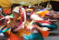 "Dancers performing in the Paro """"Tsechu"""" or annual religious Bhutanese festival, Paro, Bhutan"