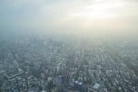 Aerial view of city in smog, Taipei, Taiwan, China