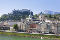 High angle view of the Old Town, UNESCO World Heritage Site, with Hohensalzburg Fortress, Dom Cathedral and Kappuzinerkirche Chu