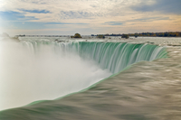 Blurry slow motion water at the top of the  Horseshoe Falls waterfall on the Niagara River, Niagara Falls, Ontario, Canada, Nort