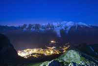 Mont Blanc and Chamonix town, Chamonix Valley, Haute-Savoie, French Alps, France, Europe