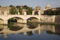 View of Vittorio Emanuele II Bridge, with St. Peters dome, Rome, Lazio, Italy, Europe