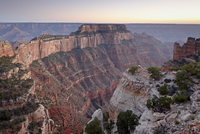 View from Cape Royal at dusk, North Rim, Grand Canyon National Park, UNESCO World Heritage Site, Arizona, United States of Ameri