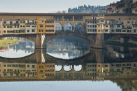 Ponte Vecchio reflected in the River Arno, Florence, UNESCO World Heritage Site, Tuscany, Italy, Europe