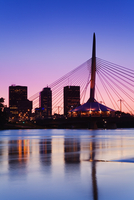 Esplanade Riel Bridge over the Red River, Winnipeg, Manitoba, Canada, North America