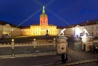 Schloss Charlottenburg (Charlottenburg Castle), illuminated at night, Charlottenburg, Berlin, Germany, Europe