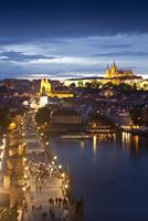 St. Vitus Cathedral, Charles Bridge, River Vltava and the Castle District illuminated at night, UNESCO World Heritage Site, Prag