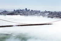 Golden Gate Bridge and the San Francisco skyline floating above the fog on a foggy day in San Francisco, California, United Stat