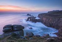 Lands End after sunset on a winter evening, Cornwall, England, United Kingdom, Europe