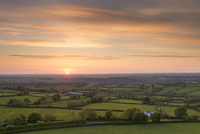 Sunset over beautiful rolling Devon countryside in summer, Devon, England, United Kingdom, Europe