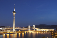 Macau Tower and Sai Van bridge at dusk, Macau, China, Asia