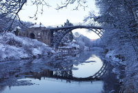 Ironbridge Gorge and River Severn in evening, winter, UNESCO World Heritage Site, Shropshire, England, United Kingdom, Europe