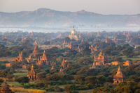 Dawn over ancient temples from hot air balloon, Bagan (Pagan), Central Myanmar, Myanmar (Burma), Asia