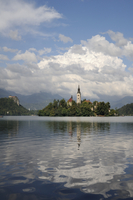 St. Mary of the Assumption church and Bled Castle, Bled Island, Lake Bled, slovenia, slovenian, europe, european