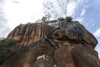 Tourists ascending Sigiriya (Lion Rock), UNESCO World Heritage Site, Sri Lanka, Asia