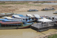 Tour boats docked at a jetty, Tonle Sap, Cambodia, Indochina, Southeast Asia, Asia