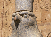 Close-up of the statue of Horus (the falcon god), at the Temple of Horus, Edfu, Egypt, North Africa, Africa