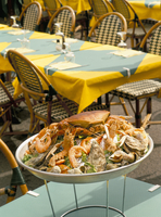 Seafood platter at a cafe in Honfleur, Normandy, France, Europe
