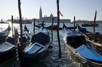 Gondolas on the Venice Lagoon on a winter morning, Venice, UNESCO World Heritage Site, Veneto, Italy, Europe